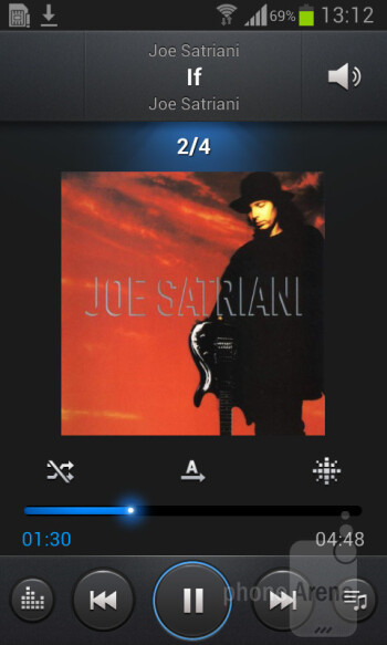 The music player apps is the same one found in all Android devices - Samsung Galaxy Core Preview