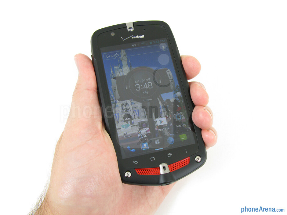 The hardened rubberized exterior of the Casio G'zOne Commando 4G LTE feels sturdy and provides a nice firm grip - Casio G'zOne Commando 4G LTE Review