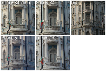 100% crops - Camera Comparison: Samsung Galaxy S4 Zoom vs Galaxy S4, HTC One, iPhone 5