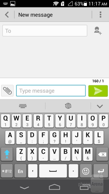 The default Emotion UI keyboard is very well spaced - Huawei Ascend P6 Review