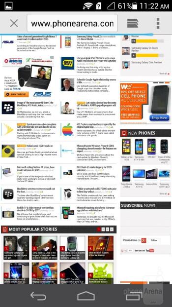 The default Ascend P6 browser - Huawei Ascend P6 Review