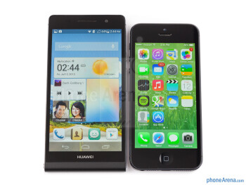 The Huawei Ascend P6 (left) and the Apple iPhone 5 (right) - Huawei Ascend P6 Review