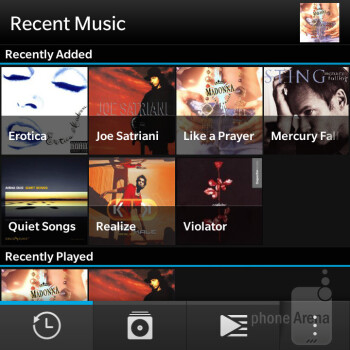 The music player on the BlackBerry Q5 - BlackBerry Q5 Review