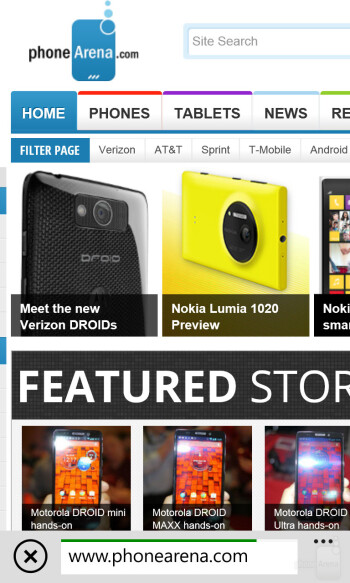 Internet Explorer is what the Nokia Lumia 1020 uses for web surfing - LG G2 vs Nokia Lumia 1020