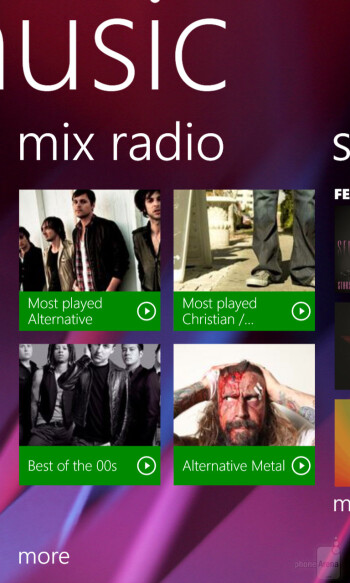 The Nokia Lumia 1020 offers both stock Windows Phone music player and Nokia Music player - LG G2 vs Nokia Lumia 1020