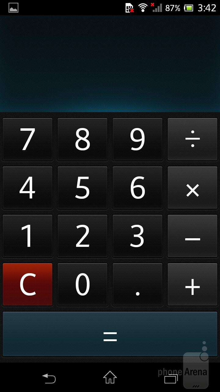 Calculator - The organizer features of the Xperia ZR - Sony Xperia ZR Review