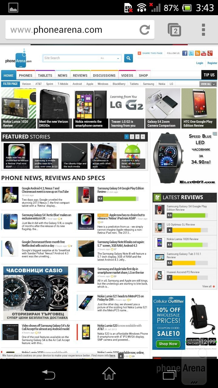 Browsing the web is done via the Chrome browser - Sony Xperia ZR Review