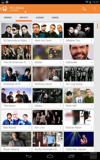 The Google Play Music app of the Nexus 7 - Apple iPad mini 2 vs Google Nexus 7