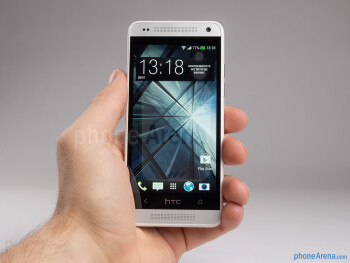 The brushed metal back of the HTC One Mini is tapered and fits well in the hand, albeit a bit slippery to hold - HTC One mini Review