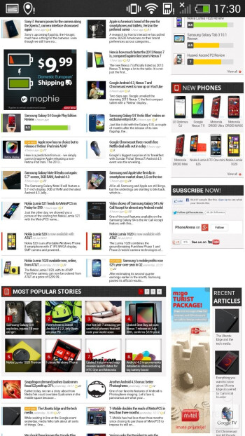 The Sense browser renders pages very quickly - Samsung Galaxy S4 mini vs HTC One mini