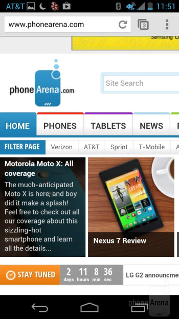 The Motorola Moto X handles surfing the web through Chrome - Motorola Moto X Review