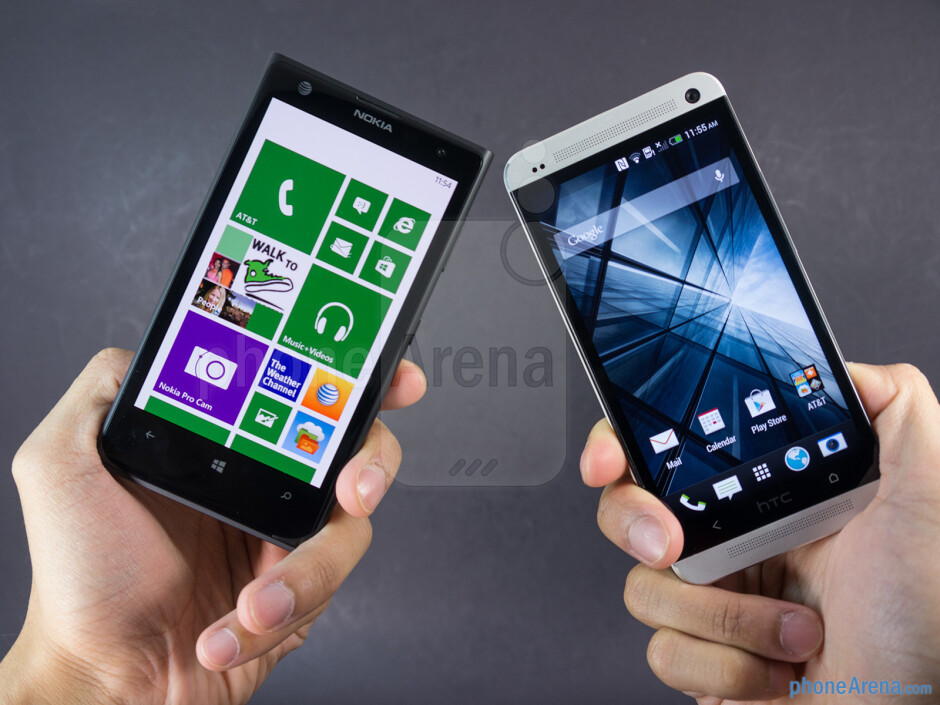 The sides of the Nokia Lumia 1020 (left) and the HTC One (right) - Nokia Lumia 1020 vs HTC One