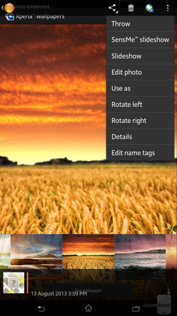 Gallery app of the Sony Xperia Z Ultra - Sony Xperia Z Ultra vs Samsung Galaxy Mega 6.3