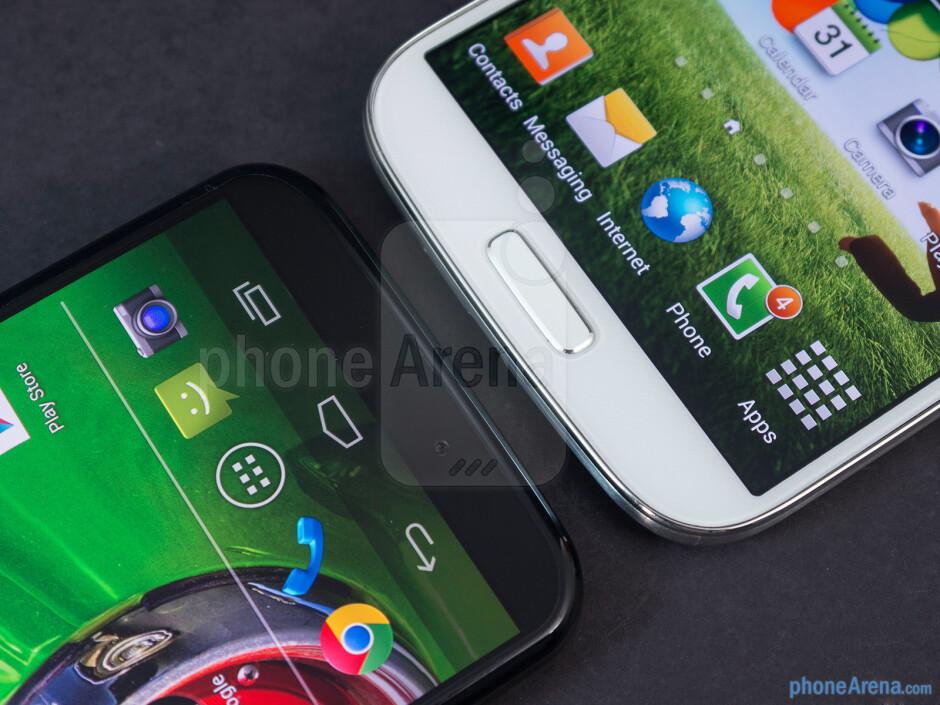 The sides of the Motorola Moto X (left, top) and the Samsung Galaxy S4 (right, bottom) - Motorola Moto X vs Samsung Galaxy S4