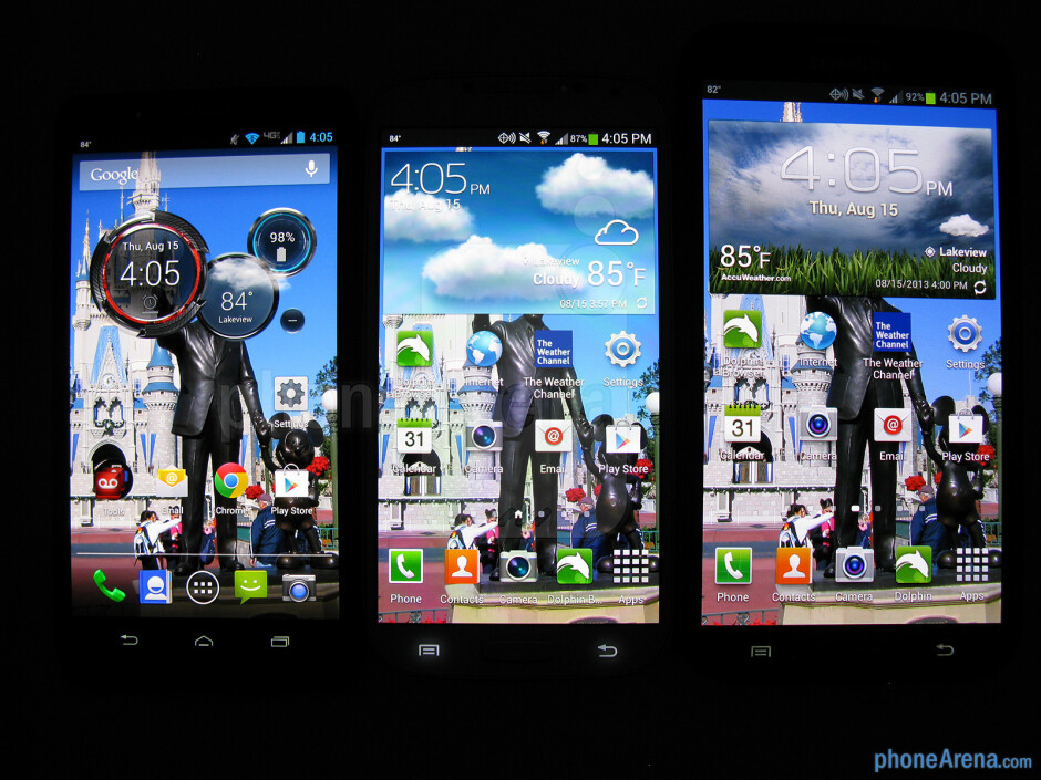 Left to right - Motorola DROID Ultra, Samsung Galaxy S4, Samsung Galaxy Note II - Motorola DROID Ultra Review