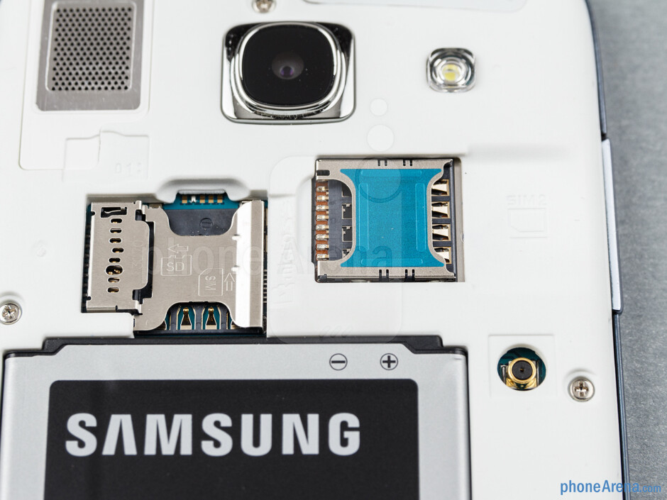 SIM trays and microSD card slot - Samsung Galaxy Core Review
