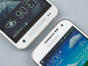 Front cameras and earpieces - The Samsung Galaxy S4 mini (right) and the HTC One mini (left) - Samsung Galaxy S4 mini vs HTC One mini