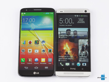 The LG G2 (left) and the HTC One (right) - LG G2 vs HTC One