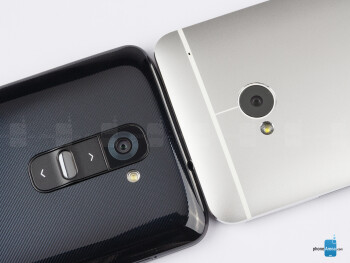 Rear cameras - The sides of the LG G2 (bottom, left) and the HTC One (top, right) - LG G2 vs HTC One