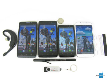 Left to right - Motorola DROID MAXX, Motorola DROID Ultra, Motorola DROID mini, Samsung Galaxy S4 - Motorola DROID MAXX Review
