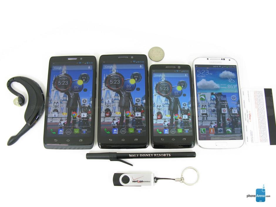 Left to right - Motorola DROID MAXX, Motorola DROID Ultra, Motorola DROID mini, Samsung Galaxy S4 - Motorola DROID MAXX Review