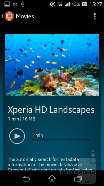 Video player - Sony Xperia M Review
