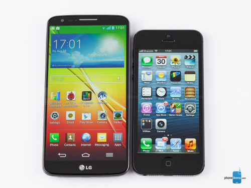 The LG G2 (left, bottom) and the Apple iPhone 5 (right, top)