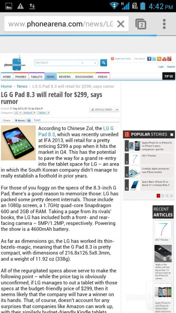 The default mobile Chrome browser on the Acer Liquid S1 - Acer Liquid S1 Review