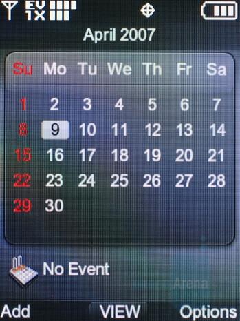 Calendar - LG VX8700 Review