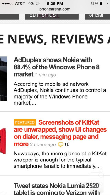 Safari browser on the Apple iPhone 5s - Nokia Lumia Icon vs Apple iPhone 5s