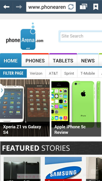 Web browser of the Samsung Galaxy Note 3 - HTC One (M8) vs Samsung Galaxy Note 3