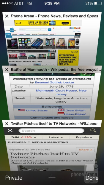 Web browsing with the Apple iPhone 5s - Apple iPhone 5s vs Samsung Galaxy Note 3