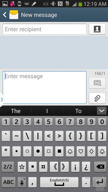 On-screen keyboard of the Samsung Galaxy Note 3 - Samsung Galaxy Note 3 vs Samsung Galaxy Note 2
