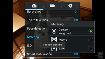 Camera UI of the Samsung Galaxy Note 3 - Samsung Galaxy Note 3 vs LG G2