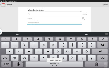 On-screen keyboard of the Samsung GALAXY Note 10.1 (2014 Edition) - Apple iPad Air vs Samsung Galaxy Note 10.1 2014 Edition