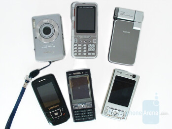 1st image from top left, clockwise are SD630, KG920, N93i, N95, K800, D900 - GSM Cameraphone Comparison Q2 2007