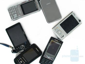 2nd image bottom to top are SD630, N93i, N95, KG920, K800, D900 - GSM Cameraphone Comparison Q2 2007