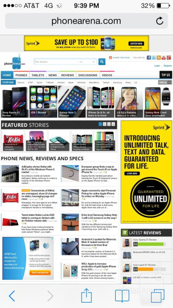 Web browsing with the Apple iPhone 5s - Apple iPhone 5s vs Motorola Moto X