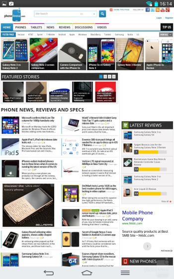 Web browsing with the LG G Pad 8.3 - LG G Pad 8.3 vs Apple iPad mini 2 with Retina Display