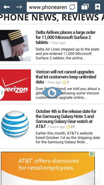 Web browsers - Samsung Galaxy Note 3 vs Sony Xperia Z1