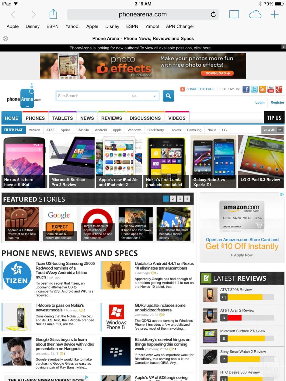 Apple's Safari browser - Sony Xperia Z2 Tablet vs Apple iPad Air