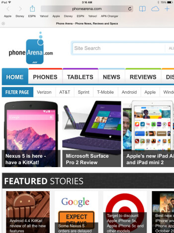 Web surfing with the Apple iPad Air - Apple iPad Air vs Samsung Galaxy Note 10.1 2014 Edition