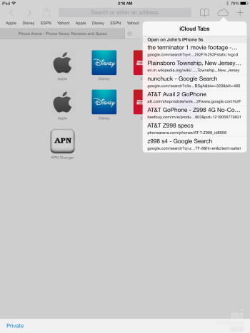 Apple's Safari browser - Sony Xperia Z2 Tablet vs Apple iPad Air