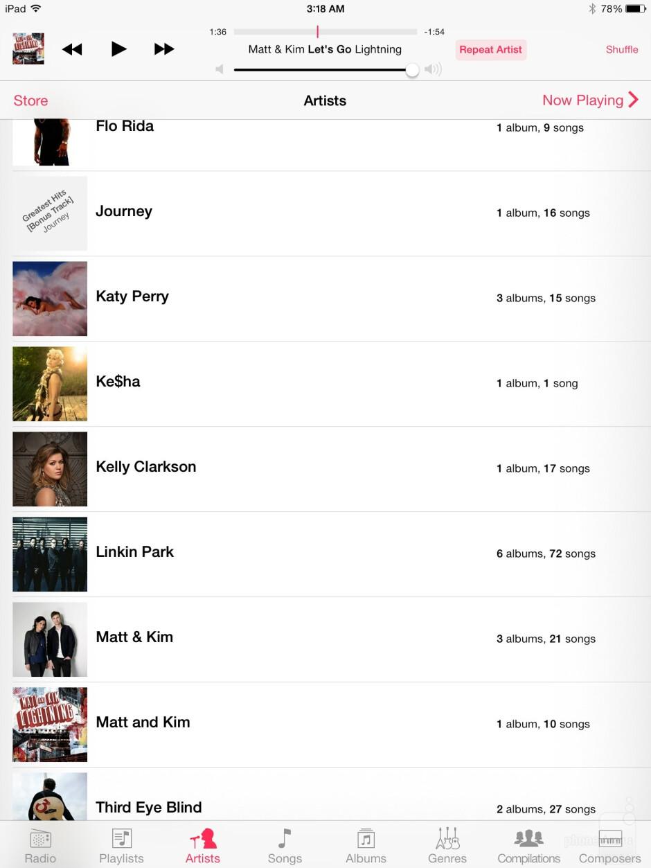 Music player of the Apple iPad Air - Sony Xperia Z2 Tablet vs Apple iPad Air