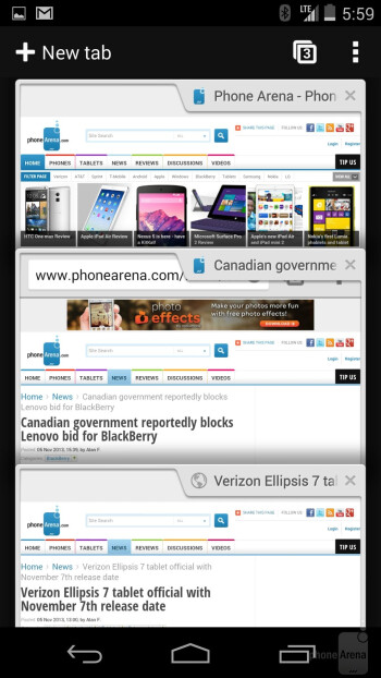 Web browser of the Google Nexus 5 - HTC One (M8) vs Google Nexus 5