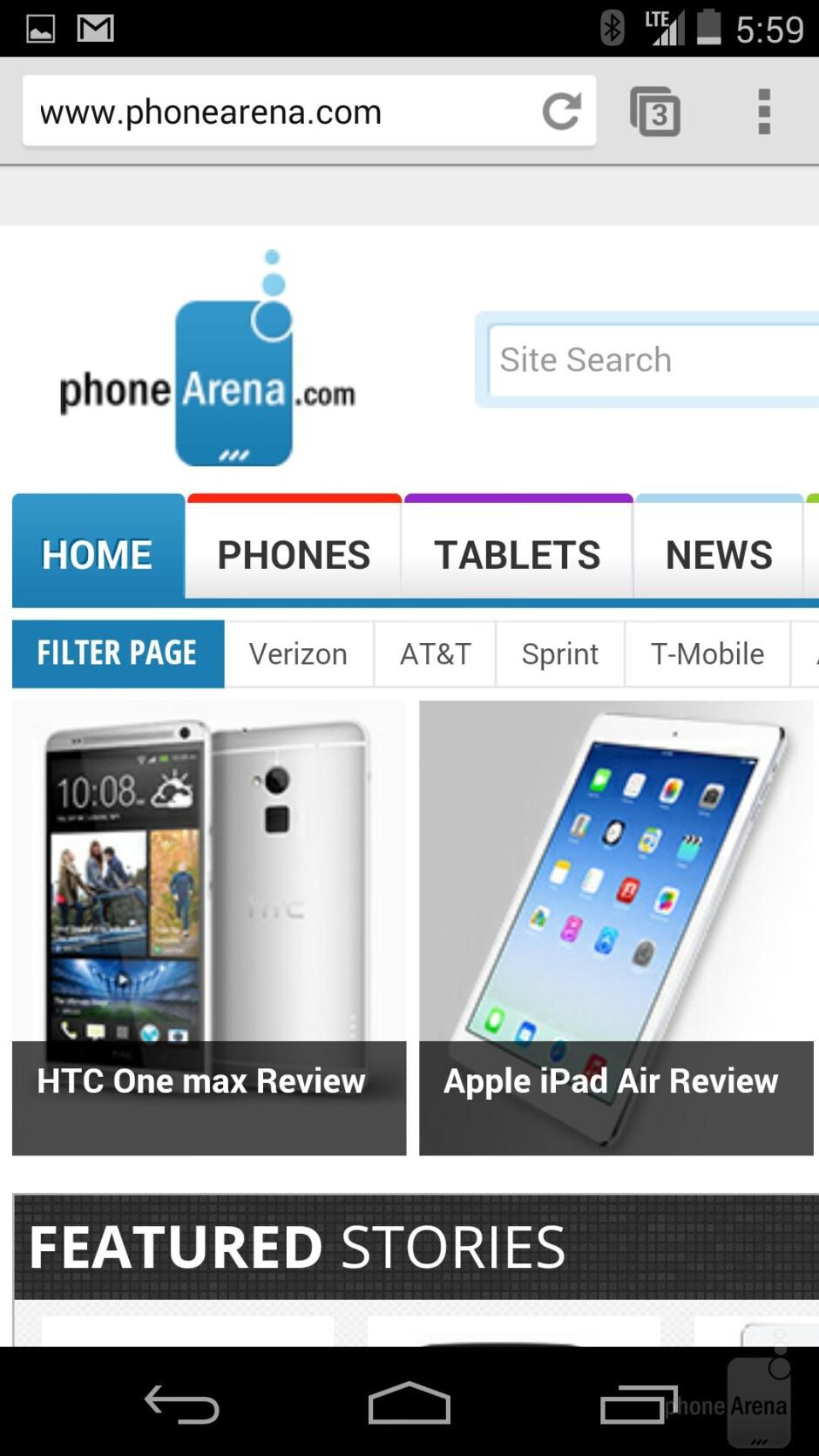 Web browser of the Google Nexus 5 - Samsung Galaxy S5 vs Google Nexus 5
