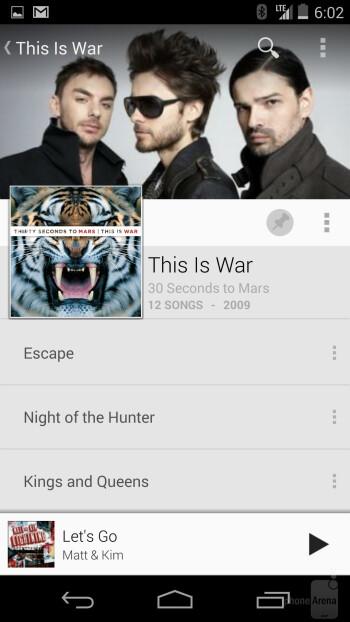 Music player of the Google Nexus 5 - Google Nexus 5 vs LG G2