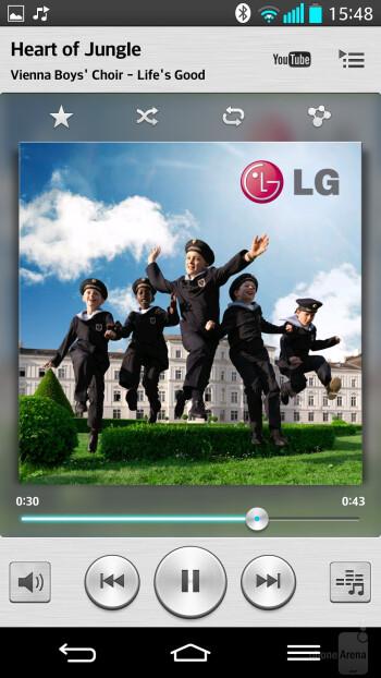 Music player of the LG G2 - Google Nexus 5 vs LG G2
