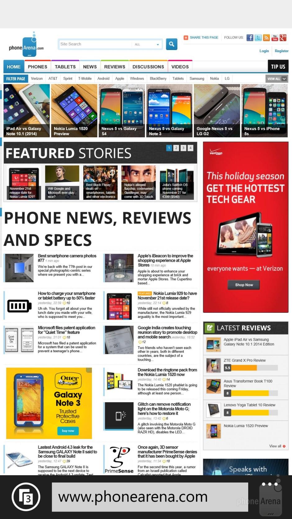 The web experience on the Nokia Lumia 1520 - Samsung Galaxy S5 vs Nokia Lumia 1520
