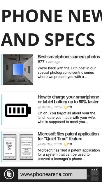Browser of the Nokia Lumia 1520 - Nokia Lumia 1520 vs LG G2
